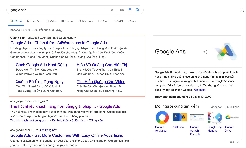 Google Ads trong bán hàng online