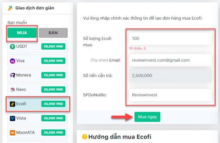 Tạo đơn hàng mua Ecofi trên Muaban247.io